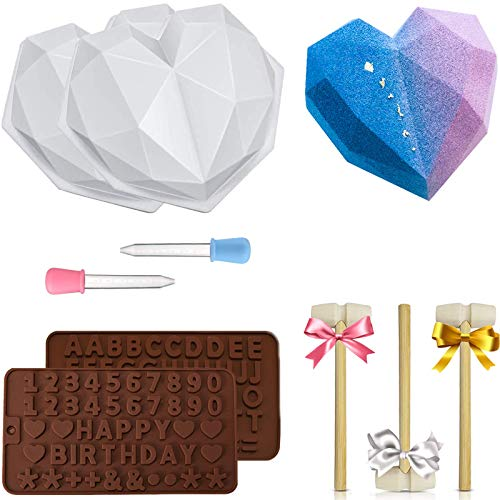Diamond Heart Silicone Mold, Heart Molds for Chocolate 9 pcs Love Mousse Cake 3D Baking Pan Set with Wood Hammers Letter Number Mold Trays Non-Sticky Cookie Dessert Mould for Home Kitchen Diy Tools