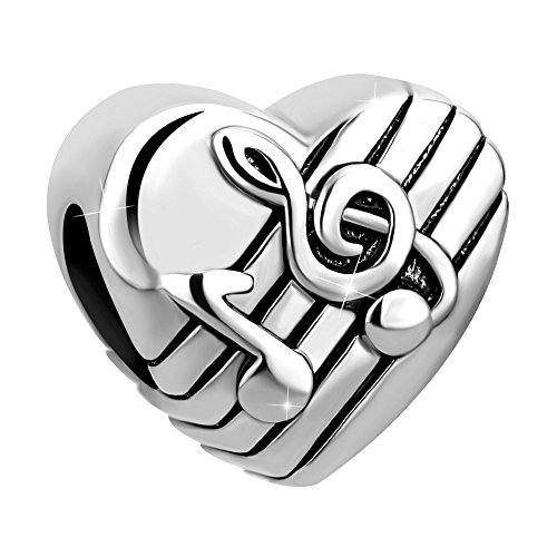 UNIQUEEN Treble G Clef Melody Love Music Note Heart Bead for European Charm Bracelets