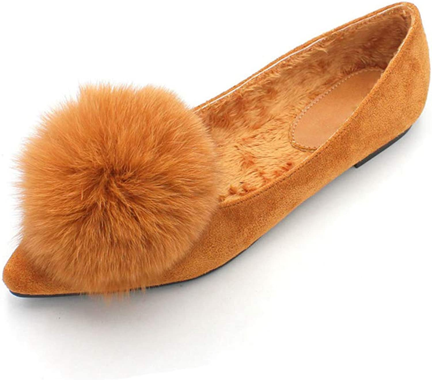 August Jim Womens Classic Pointy Toe Ballet Flat shoes Fur Fluffy Ball Winter Warm