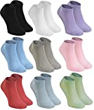 Rainbow Socks - Women Men Short Sneaker Bamboo Socks - 9 Pairs - White Black Violet Pink Pistachio Blue Beige...