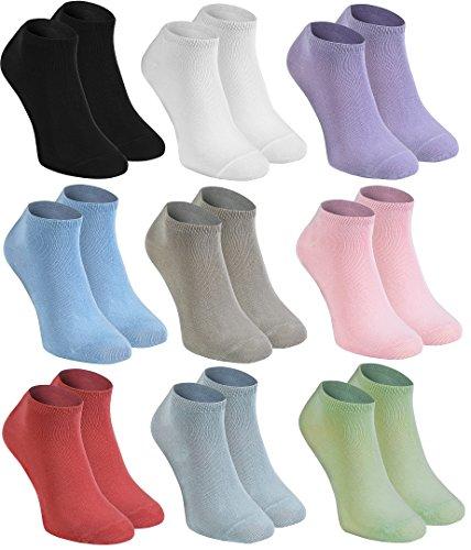 Rainbow Socks - Damen Herren Bunte Sneaker Bambus Socken - 9 Paar - Weiß Schwarz Violett Rosa Pistazie Blau Beige Himbeere - Größen 39-41