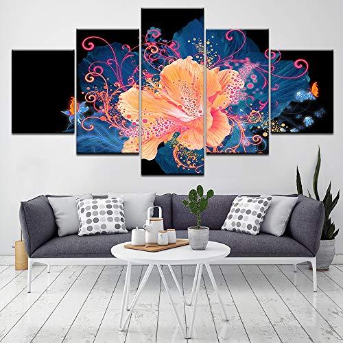 Sandalenka 5 Panels Modular Paintings Dekoration Blumen Leinwanddruck Kunst Bilder für Wohnzimmer Home Decor Artwork C