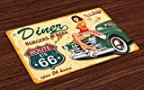 Lunarable Route 66 Place Mats Set of 4, Diner Burgers Beer Cafe Sign with a Waitress on a Car Freeway Retro Illustration, Washable Fabric Placemats for Dining Table, Standard Size, Green Mustard