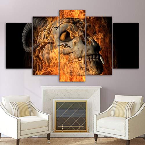 QAZWSY Muurdecoratie Posters Beeld Op Doek Kunst Thuis Modulaire 5 Paneel Vlam Schedel Woonkamer Hd Gedrukt Schilderij 40x60 40x80 40x100cm Frame