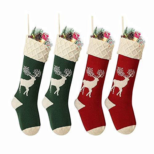 Charlemain Nikolausstiefel zum Befüllen, 4er Set, (46 * 22cm), groß Weihnachsstrumpf als Weihnachtsgeschenktasche, Nikolausstrumpf, Hängende Strümpfe