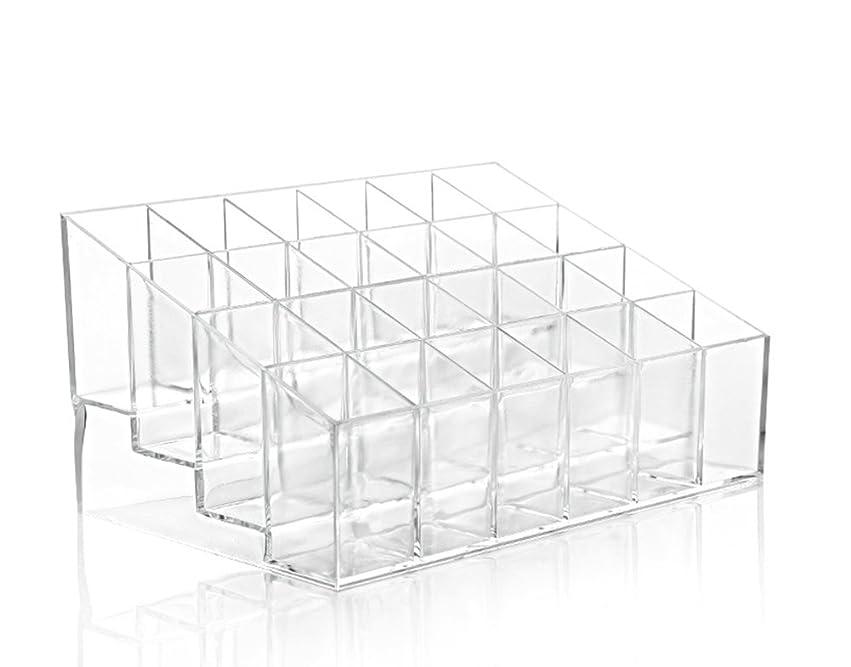 Ruikeyレディース化粧品収納ボックス 口紅ホルダー  化粧品ディスプレイスタンド 台形メイクアップ  コスメ収納スタンド プラスチック製 24グリッド 透明