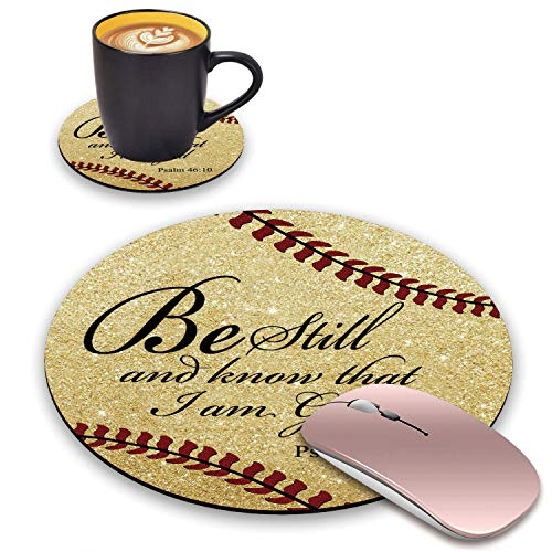ChaTham Round Mouse Pad & Coasters Set, Softball Surface Quotes Golden Glitter Christian Bible Verse Psalm 46:10 Mouse Pad, Non-Slip Rubber Base Mouse Pads for Laptop and Computer Office Accessories