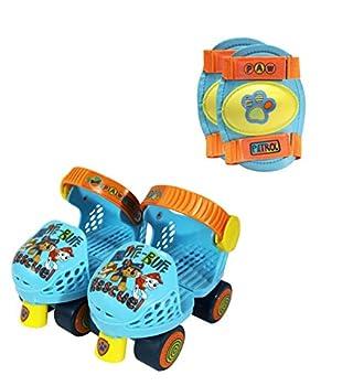 PlayWheels PAW Patrol Roller Skates with Knee Pads Blue/Orange Junior Size 6-12