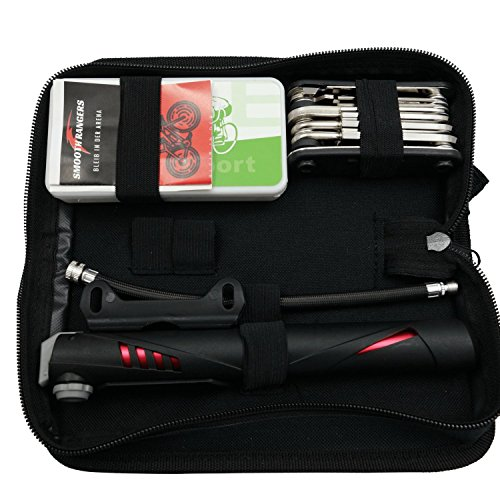 Smooth Rangers - Fahrrad Reparaturset in Tasche, Multitool & hochwertige Alu Mini Luftpumpe sowie Reifenheber, Selbstklebende Flicken inkl, Sorglos-Paket für Ihren nächsten Radtouren