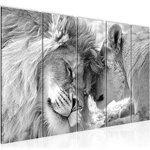 Runa Art Wandbild XXL Löwen Liebe 200 x 80 cm Schwarz Weiss 5 Teilig - Made in Germany - 002155c
