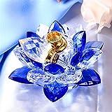 TYGJB Crystal Lotus Flower Incensario Figuras Miniaturas Feng Shui Botella de Perfume de Vidrio para decoración del hogar Regalos para Recuerdos de Boda (Azul)