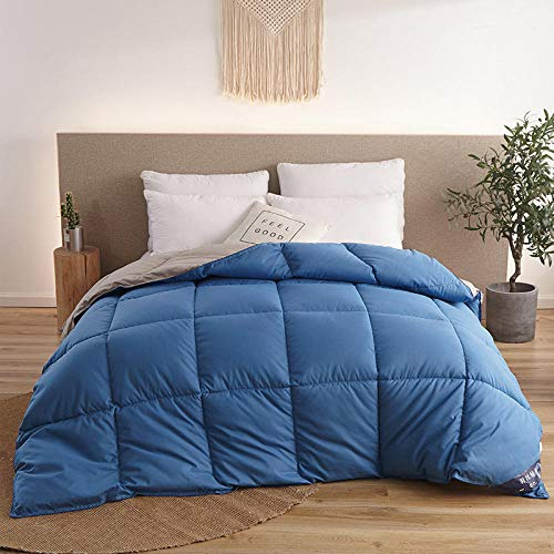CHOU DAN Cooler Summer 4.5 Tog Duvet New White Goose Down Duvet Quilted Comforter Blanket Winter Warm Hotel Quilt with Cotton Cover Double King Family Size RU-220x240cm 5kg_Type 3