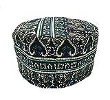 Vipada Handmade African Dashiki Hat Kente Pattern Kufi Kofi Hat Cap 3 (White Green Black)