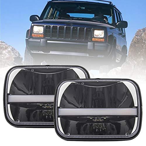 "SKTYANTS 5"" x 7"" inch led headlights 7x6 led headlamp halo DRL Turn Signal Truck light for jeep Wrangler YJ Cherokee XJ Trucks 4X4 Offroad (2 pcs)"