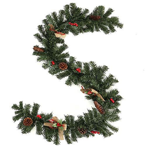 Iraza Corona Navideña Verde Guirnalda de Navidad con los Cono de Pino y Artificial Bayas Arco de Lino Decoración de Pared Puerta (150 pies, 180cm)