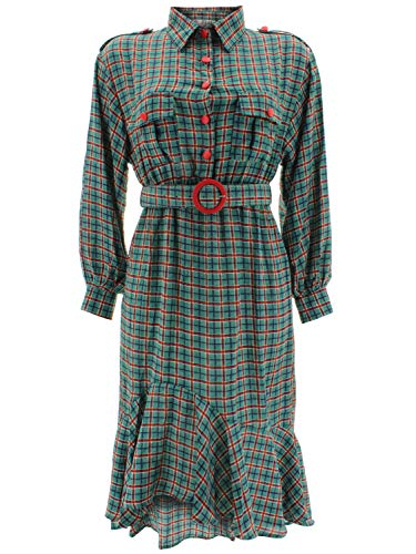 Shikha Londen dames blouse-jurk met riem Tartan 7112