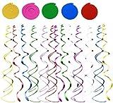 Tweal Stelle Filanti a Spirale,30 Pezzi Colorato Festa Turbinii Appeso Compleanno Decorazione Forniture per Festa di Compleanno