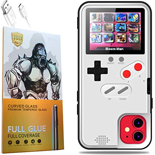 Gameboy Phone Case iPhone 11 with Clear Glass Screen Protector,Full Color Display 36 Classic Game, Protective Cover Self-Powered, Fully Protect Your iPhone,Fun Gift