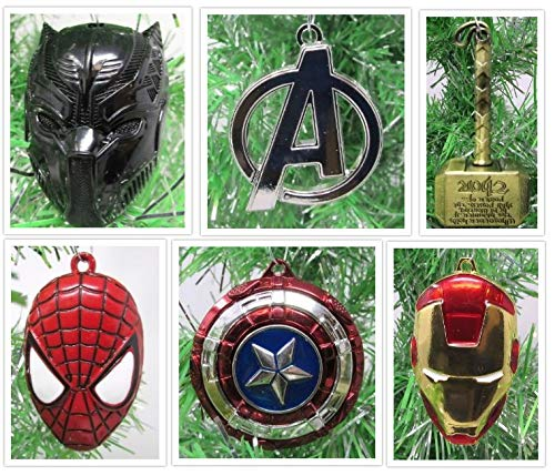 Christmas Ornaments Super Hero Avengers Team Themed Metal Set Featuring Captain America, Black Panther, Iron Man, Spider-Man, Thor & More - Unique Shatterproof Metal Design