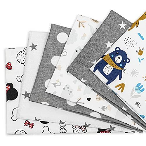 Tela algodon Telas Patchwork 6 piezas 50 x 50 cm - Retales Tela para coser, Telas decorativas Costura y Manualidades por metros OEKO-TEX (Multicolore 1, 6 piezas 50 x 50 cm)