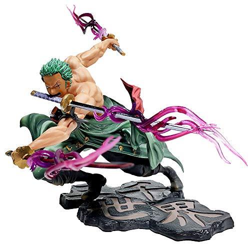 GUANGHHAO One Piece Roronoa Zoro Three Knives Big Thousand World Anime Figura 25cm-New World-Figurilla Decoración Adornos Coleccionables Juguete Animaciones Modelo de Personaje