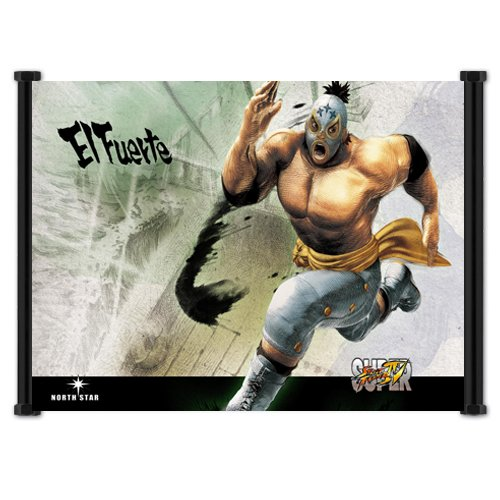 Super Street Fighter IV 4 Game El Fuerte Fabric Wall Scroll Poster (42'x32') Inches
