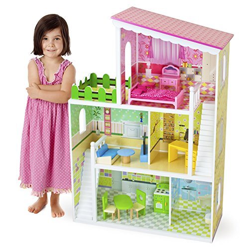 Imagination Generation Living Large! Modern Design Wooden Multi-Level Dollhouse with 18 pcs of Decorative Furniture for 8' Dolls