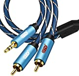 Cable RCA,RCA to 3.5mm Jack de Nailon Trenzado Cable Jack 3,5 mm a 2 RCA Macho a Macho para iPhone,iPod,Smart TV,Home Theater,Tablet o Reproductor de MP3 Azul 13Ft/4M