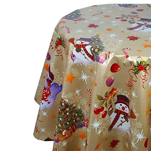 DecoHomeTextil Wachstuch Weihnachten Christmas RUND OVAL Größe & Farbe wählbar Oval 130 x 220 cm Zuckerstange Gold abwaschbare Tischdecke