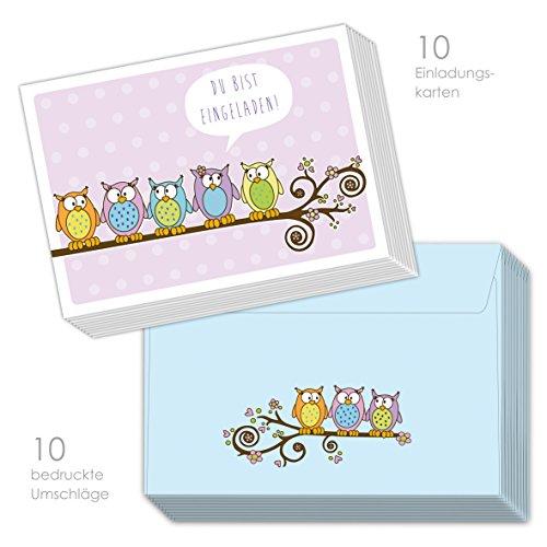 emufarm 10 Einladungskarten EULEN zum Kindergeburtstag inklusive 10 passende Umschläge für Mädchen