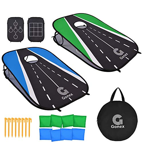 Gonex Cornhole Outdoor Game Portable Cornhole Game Set Indoor Bean Bag Toss Game, 2 Collapsible 3' x 2' Cornhole Boards and 8 Corn Hole Bags for Kids Adults Family