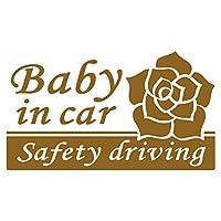 imoninn BABY in car ステッカー 【シンプル版】 No.40 バラ (ゴールドメタリック)
