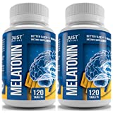 Pharmaceutical Grade Melatonin Supplement by Just Potent   10mg Tablets   Better Sleep   Brain Health   2-Pack - 120 Count Per Bottle   Fast Acting and Non-Habit Forming Sleep Aid