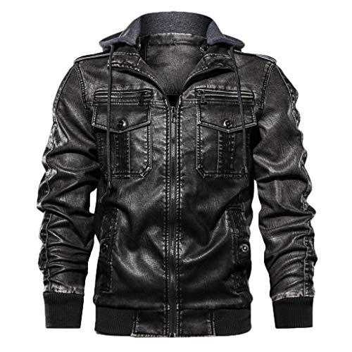 JOYFEEL Men's Bomber Jacket Vintage Stand Collar Leather Full Zip Hooded Jacket Long Sleeve Outdoor Moto Outwear Coats Black