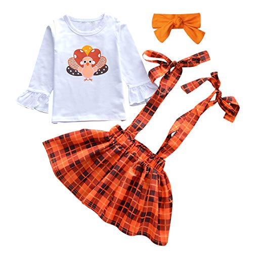 2Pcs Toddler Baby Girl Thanksgiving Outfit Long Sleeve Turkey T-Shirt Tops Suspender Skirt Dress Outfit (Turkey Dress, 3-4T)