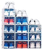 NEATLY Shoe Organizer - Stackable Shoe Racks for closets and entryway Shoe Storage cabinet - 12 COLLAPSIBLE Cube Storage bins for mens shoes, women shoes sneakers, Clear shoe box (small)