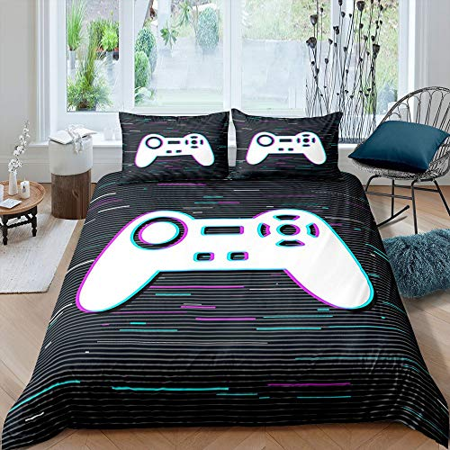 Gamepad Grey Duvet Cover Twin Game Console Comforter Cover Set with Zipper Ties Black Button Ultra Softest Bedding Set for Teens Exotic Style Bed Covers 2pcs Bedding Set