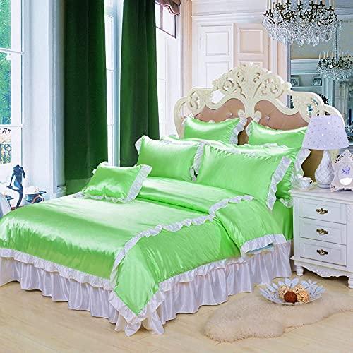 Påslakanset set dubbelsäng med extra dra-på-lakan, sängkläder ultramjukt lyxigt siden-liknande satin 4-delat täcke (täcke + platt lakan + dra-på-lakan + 4 kuddfodral), hållbar komfort Beddi