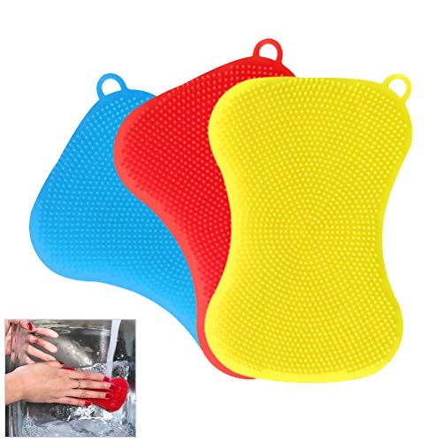 Haplws Éponges en Silicone Brosse à Vaisselle Éponges à Laver réutilisables Décontamination Nettoyage Brosse à Vaisselle Gadgets de Cuisine