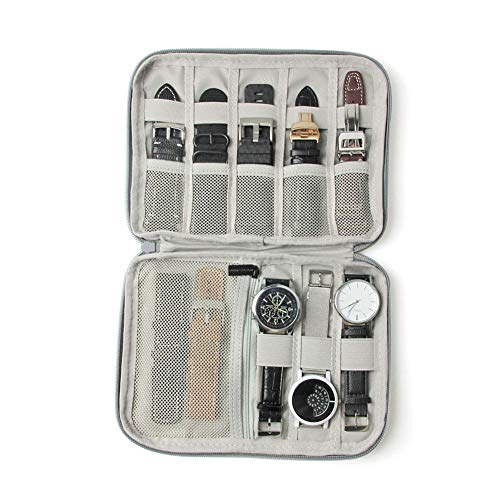 XHXseller Smart Watch Bands Reise-Tragetasche/Ordnerzubehör Tasche Organizer für Uhrenarmbänder, Aufbewahrung von 10 Armbändern, tragbar, Grau, Schwarz, grau, Free Size