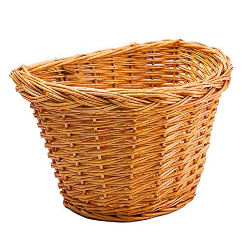 heresell Cesta de bicicleta para niños de Wicker, cesta delantera para manillar con cinturón de piel, retro, tejida a mano, cesta delantera para niños y niñas, 30 x 23 x 22 cm