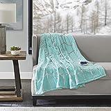 True North by Sleep Philosophy Raina Electric Blanket Plush Throws-Low EMF- 50' x 60'- Metallic Geometric Print Cozy Soft-3-Setting Heat Controller, 50' x 60', Aqua