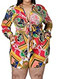 Sexy Women Plus Size 2 Piece Short Sets Print Outfits Clubwear Long Sleeve Front Tie Knot Top Romper Summer with Pocket Yellow 3XL