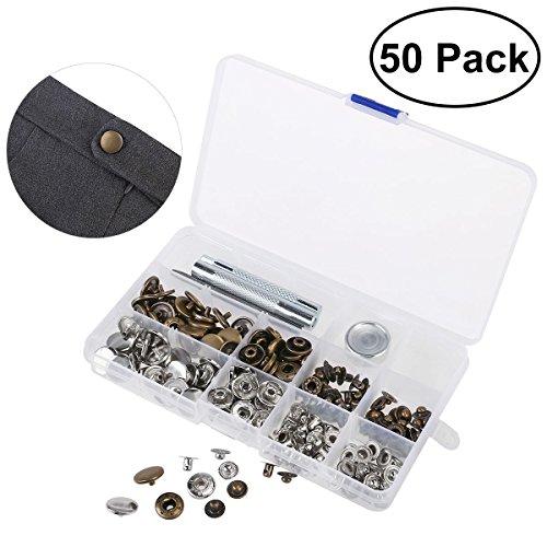 OUNONA 50 Set Metall Druckkn?pfe 15mm Druckknopf Set 4tlg Werkzeug Locheisen mit Aufbewahrungsbox