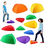 IROO 12 PCS Balance Stepping Stones Set for Kids, Non-Slip Colorful Stones Toys for Coordination and Gross Motor Development, Gift Birthday, Christmas, Xmas,Boys,Girls (12PCS)