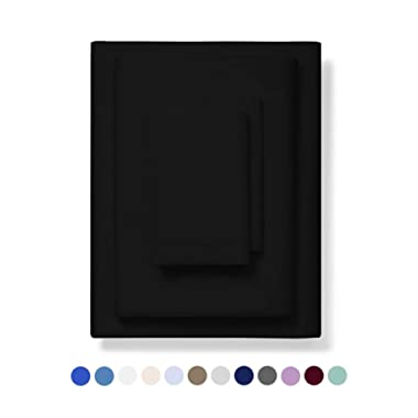 800-Thread-Count Best 100% Egyptian Cotton Bed Sheet Set - Black Extra Long-staple Cotton QUEEN Sheet For Bed, Fits Mattress 16'' Breathable & Sateen Weave 4-Piece Sheets and Pillowcases Set
