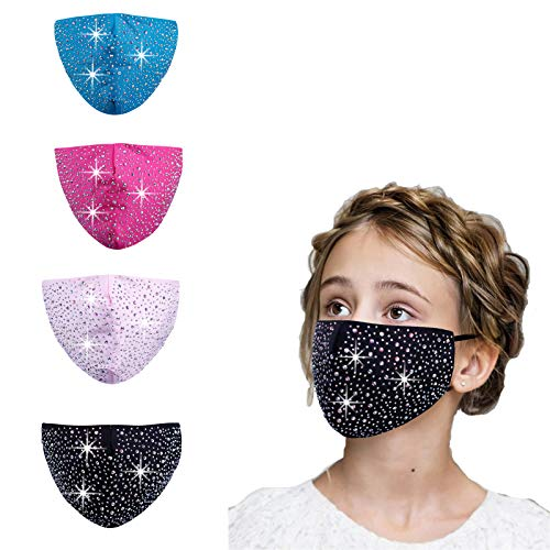 Kids Bling Sparkly Rhinestone Face Cloth Mask, Resusable Washable,The Best Gift for Girl Boy (Gray)