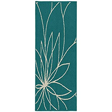 Garland Rug LL460W024060F4 Grand Floral, 2' x 5', Teal/Ivory