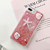 Miagon Liquid Quicksand Case for Xiaomi Redmi Note 9 PRO,Glitter Floating Sparkle Bling Transparent 3D Cute Case,Starfish Pink