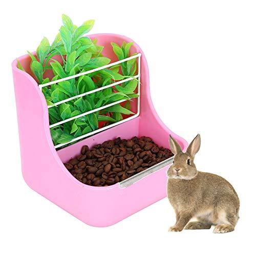 Alimentador de heno de Conejo 2 en 1, comedero para Mascotas Rosa y Marco de Hierba Estante Externo Fijo Dispensador de Alimentos para Conejos pequeños Chinchillas Conejillos de Indias Grandes